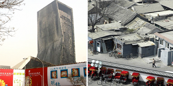 Beijing new and old: the fire-damaged Mandarin Oriental hotel (l) and traditional Chinese hutongs (r)